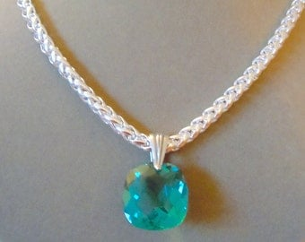 NEW MARKDOWN: Ella -- One of a Kind Aqua Green Quartz and Silver Snake Chain Necklace