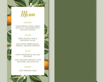 Vintage Botanical Fruit and Floral Wedding Day Menu • Orange and Olive Custom Printable Stationery
