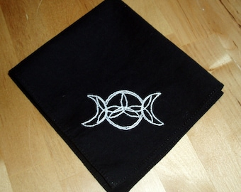 Hand embroidered cotton hankie / pocket square with moon goddess symbol