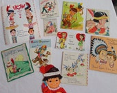 Humorous Politically Incorrect 1950s 1960s Indian Inspired Greeting Cards in Vintage All Occasion Lot No 154 Great Graphics