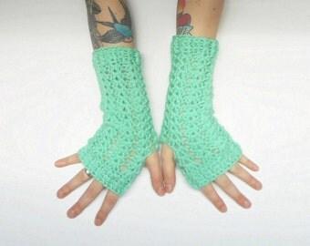 Mint Green Wrist Warmer Texting Gloves, vegan friendly, ready to ship.
