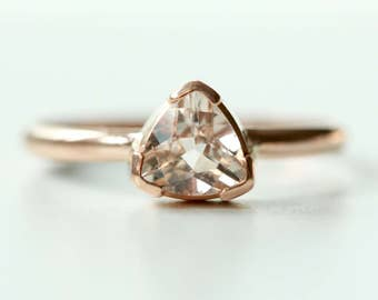 Morganite Ring in Recycled 14k Gold - Trillion Morganite Gemstone - Engagement Ring - Diamond Alternative Engagement - Flashy Gold Ring