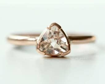 Morganite Ring in Recycled 14k Gold - Trillion Morganite Gemstone - Engagement Ring - Diamond Alternative Engagement - Flashy Gold Ring