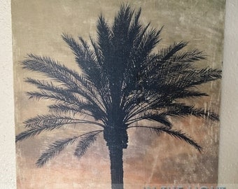 Palm Tree Sunset 4 - Florida, Wood Photo Transfer - Fine Art Photography, Home Decor, Vintage Distressed Wall Art