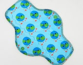 "10"" Moderate Flow Reusable Cloth Menstrual Pad ~ Made with Happy Earth Minky, WINDPRO ~ Day Pad, Cloth Pad by MotherMoonPads"