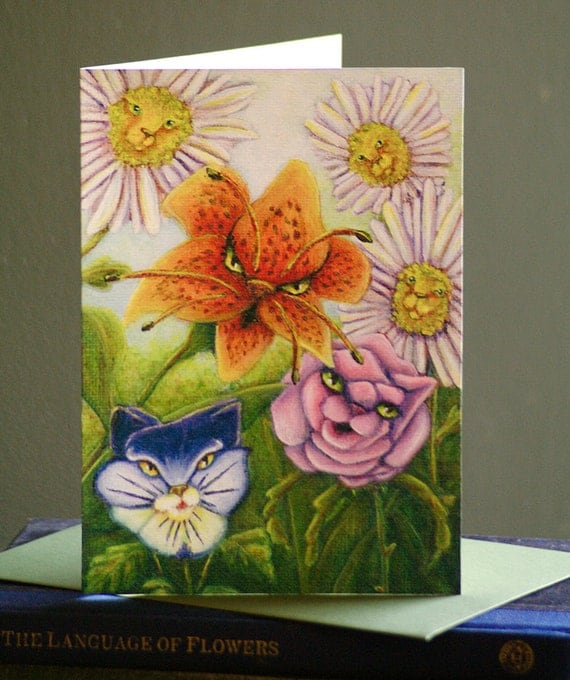 Cat Flowers Card, Alice in Wonderland Fantasy Cat Art 5x7 Blank Greeting Card