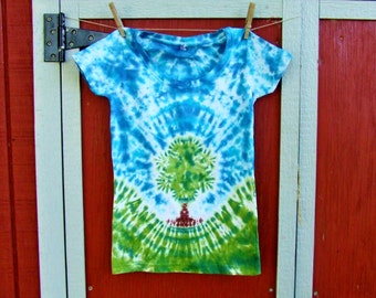 Small Junior Women's Tie Dye T-shirt - Peaceful Tree - Ready to Ship