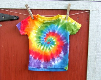 6m Baby Tie Dye T-Shirt - Classic Rainbow Swirl - Ready to Ship