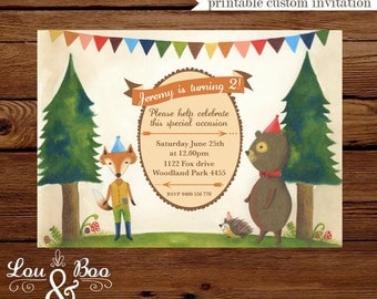 Printable Foxy and Bear woodlands custom birthday party invitation, illustrated invitation for girls and boys