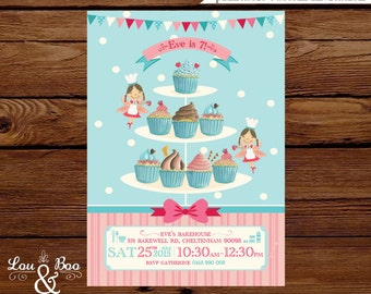 Cupcake Baking birthday party printable invitation - cooking party invitation