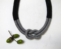 Statement wool necklace. Nautical knot, thread necklace. Charcoal grey, tweed light grey.