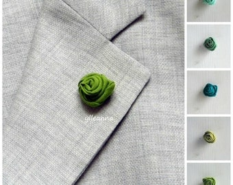 Flower lapel pin - Men's lapel flower - Men buttonhole - Men boutonniere - Green hues - Made in Italy