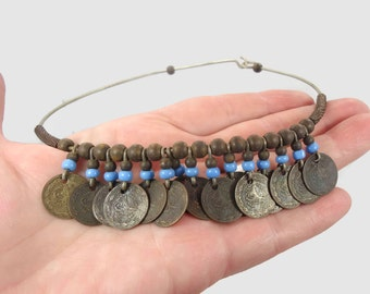 Coin Necklace, Choker, Asian Jewelry, Vintage Necklace, Gypsy Jewelry, Boho Statement, Bohemian, Ethnic Tribal, 1970s 70s, Patina, Metal