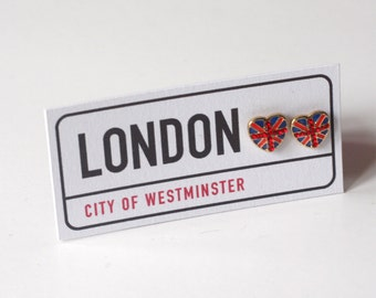 Union Jack earrings, London Themed earrings, novelty earrings, British, heart studs, London Earrings, unique gift, red, white & blue,clock