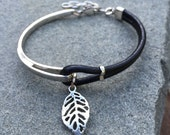 Black Leather And Silver Bohemian Bracelet With Leaf Charm, Adjustable, Leather Bracelet, Black Leather, Silver Bracelet