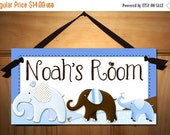 THANK YOU SALE Blue and Brown Elephant Boys Nursery Children's Bedroom Door Sign Wall Art Ds0102