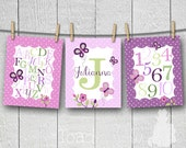 Set of 3 Personalized Sugar Plum Butterfly Name Alphabet and Numbers Girls Bedroom Baby Nursery 8x10 Wall ART Prints