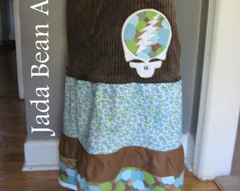Grateful Dead Steal your Face Patchwork Corduroy Skirt