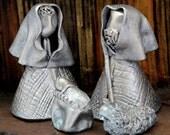 Mini Nativity, Ceramic Holy Family, Silver Finish