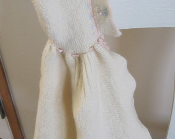 Beautiful Shabby Vintage Cream Wool Baby or Doll Shawl with Flowers