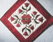 Quilted  wall hanging table topper  runner applique flowers Red