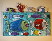 SALE,Clay, Textural, Mixed Media Folk Art, Fish, Sea Life, Painting