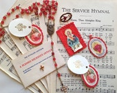 SALE Vintage Paper Ephemera and Religious Assemblage Kit - Scrapbooking - Destash - Altered Art Supplies - Mixed Media