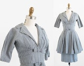 r e s e r v e d - vintage 1950s dress / 50s dress / Black and White Gingham Wiggle Dress by Suzy Perette