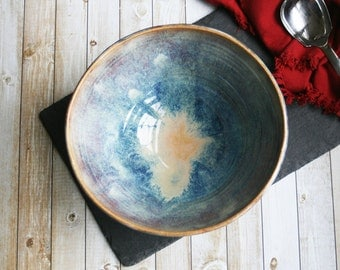 Beautiful Large Stoneware Serving Bowl with Dripping Earthy Glazes Artfully Handcrafted Pottery Centerpiece Made in the USA