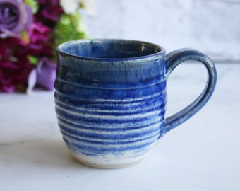 Rustic Blue Mug Handcrafted Pottery Coffee or Tea Cup Wheel Thrown Ready to Ship Made in USA