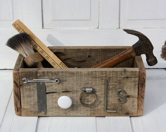 Raw and Rustic Vintage Warehouse Style Storage Box- Primitive Tools- Mantique Wood Box- Junky Style Tool Bin