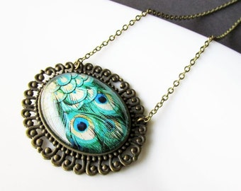 Large Green Peacock Feather Pendant Necklace