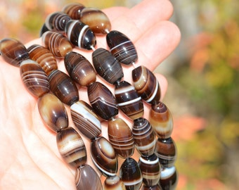 9 Botswana Agate 14mm Barrel Beads BD918