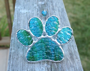 Paw Print Stained Glass Suncatcher in Bright Blue with Streaks of Spring Green
