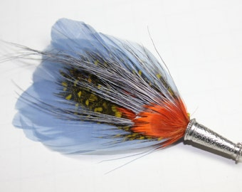 """Men's Lapel Pin, Feather Boutonniere, Hat Pin Brooch """"Edward"""" - periwinkle, orange feathers with silver toned pin base"""
