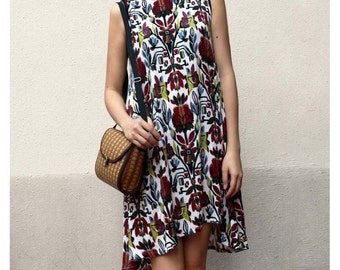 Boho floral prints tunic dress resort dress