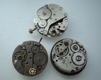 3 vintage steampunk partial watch movements (L26)