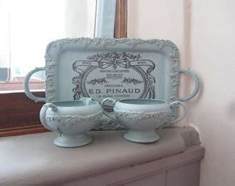 Painted Silver - Duck Egg Blue Chalk Paint - Painted Cream Sugar Set