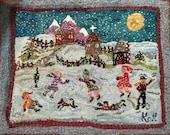 Primitive hooked rug hand hooked winter scene Folk Art Rug hooking RESERVED for LAUREL