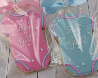 Gender Reval Baby Cookies, Baby Shower CookieFavors - 12 Decorated Sugar Cookie Favors