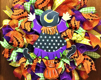 SALE - Halloween Fall Witch Riding Broom Goes Splat - Welcome Door Wreath