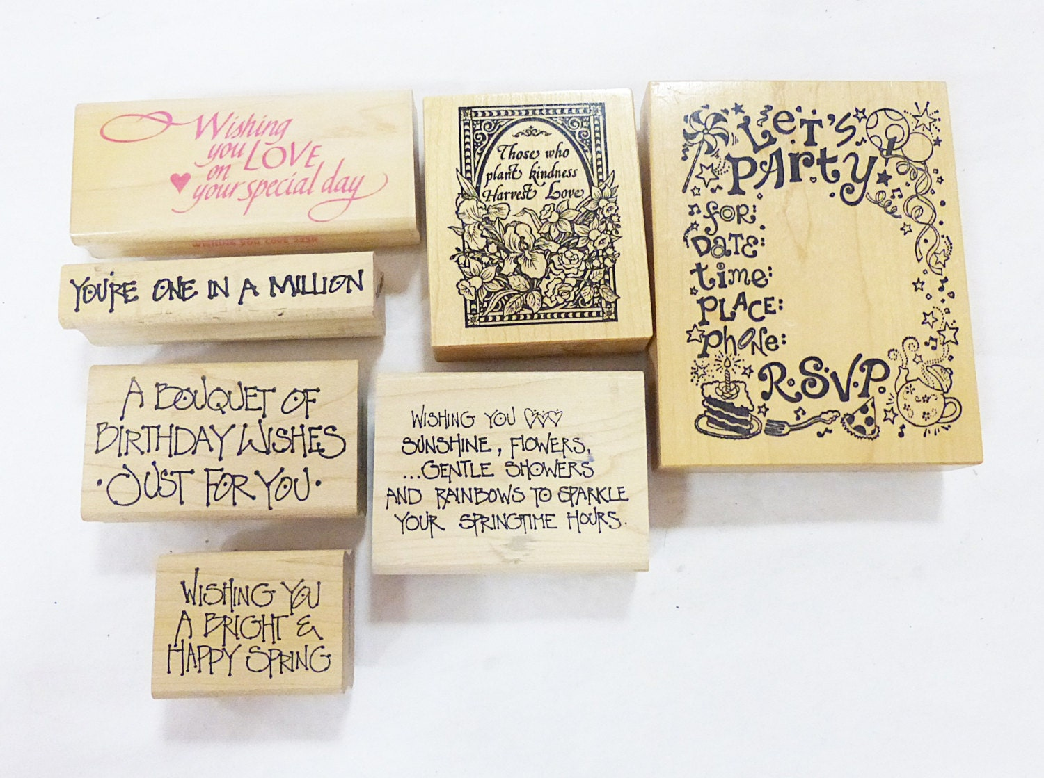 Rubber stamp wood mounted saying art and craft occasional for Rubber stamps arts and crafts