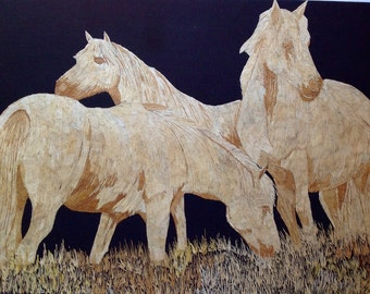 Wild Horses Handmade with rice straw Dried leaves of rice plant Over three thousand tiny pieces of rice straw to make it