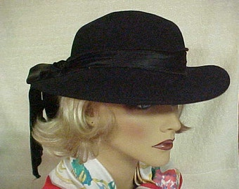 """Black wool fedora hat with large velvet bow in back- fits 22 1/2 """" 23"""