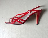 "Vintage GAROLINI Red Leather Strappy Heels - size 6 M - Summer Cocktail Disco Pumps Party Shoes - Made Italy - 3.5"" heel - Like New Vintage"