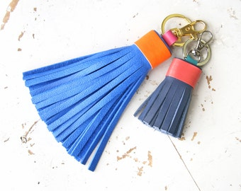 Leather Tassel Keychain Purse Bag Charm Gift for Her Leather Gift