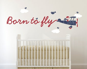 Born to Fly Airplane Wall Decal Travel Theme Baby Nursery Kids Boy Girl Room Decor