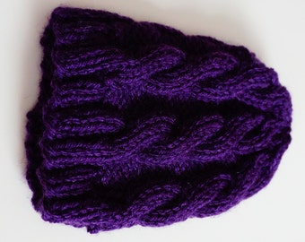 Dark Purple Cable-Knit Baby Hat