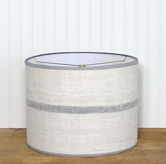 rare grey stripe lamp shade grain sack drum shade antique. Black Bedroom Furniture Sets. Home Design Ideas