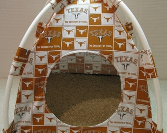 Large Handmade College Texas Longhorns Pup Tent Pet Bed for cats/ dogs/ferrets/ piggies/ A Toy Box / Barbie Doll House